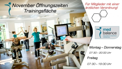 ❗️❗️❗️ November Öffnungszeiten Trainingsfläche ❗️❗️❗️